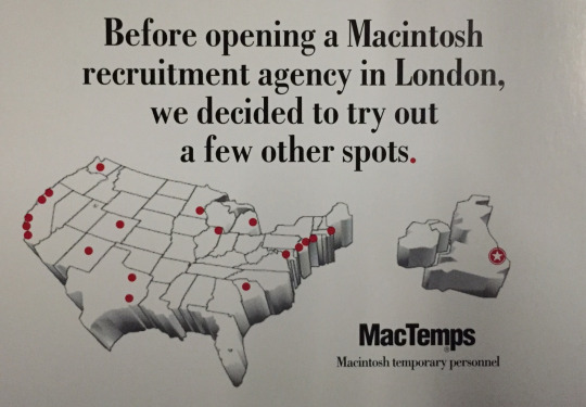 19991 MacTemps postcard with US and London map